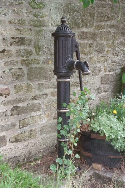 Pump. Mid C19 cast iron pump with a long curved handle and spout. IoE 399999