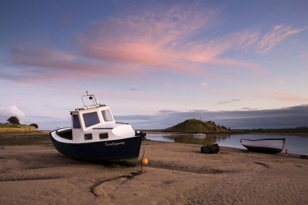 Fishing Boat at Sunset on the Aln Estuary at Low Tide