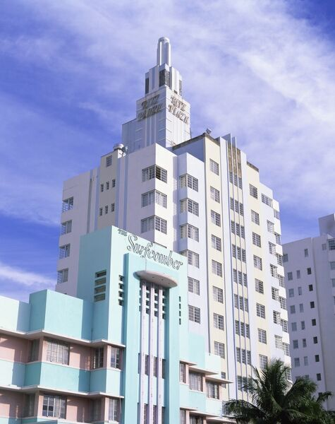 the surfcomber and ritz plaza hotels, ocean drive, art