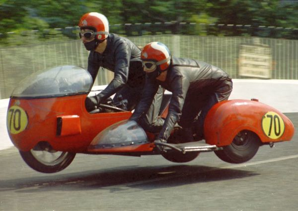 Eddie Lloyd & T J Harrington (BSA) on Ballaugh Bridge: 1971 750 Sidecar TT