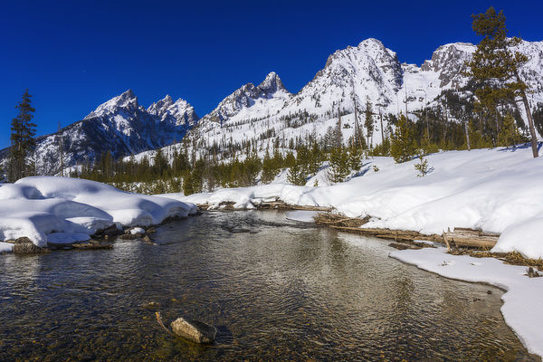 The Tetons in winter above Cottonwood Creek, Grand Teton National Park, Wyoming, USA