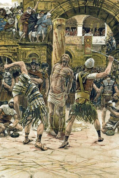 Jesus scourged on the face. John:9. Illustration by J.J.Tissot for his Life of Our Saviour Jesus Christ, 1897. Oleograph