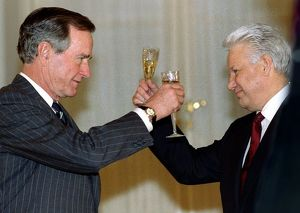 world leaders/president george bush toasts russian president