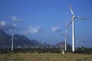 science technology/india tamil nadu wind turbines mountains eastern