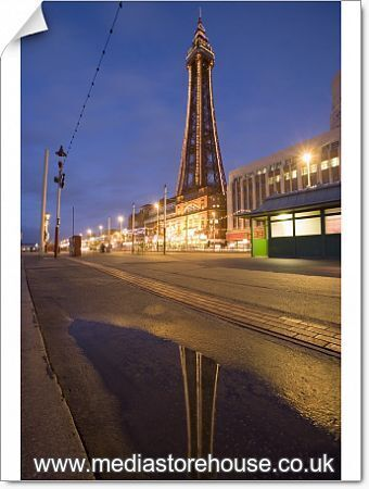 Photographic Print Of Blackpool Tower Reflected In Puddle