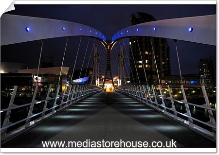 Poster Print Of Night View Of The Lowry Bridge Over The