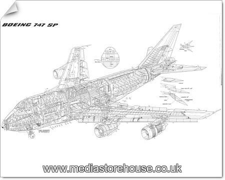 photographic print of boeing 747 sp cutaway drawing  4508530