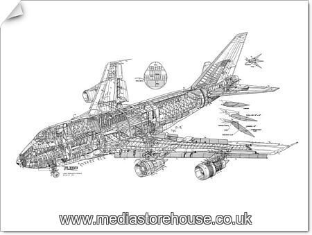 photographic print of boeing 747sp cutaway drawing  1569631