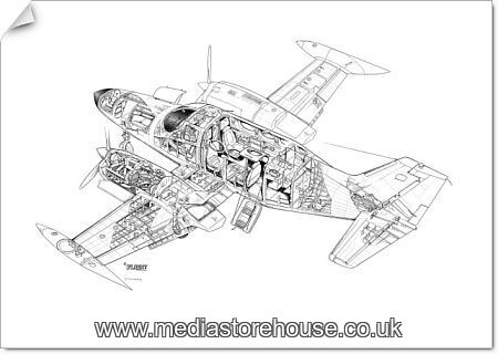 poster print of cessna 421 golden eagle cutaway drawing