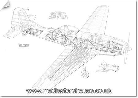 poster print of cranfield a1 chase cutaway drawing  4580620